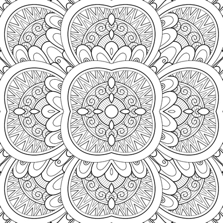 Monochrome Seamless Tile Pattern, Fancy Kaleidoscope. Endless Ethnic Texture with Abstract Design Element. Art Deco, Nouveau, Paisley Garden Style. Coloring Book Page. Vector Contour Illustration Imagens - 104236127