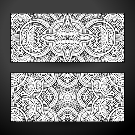 Set of Monochrome Banners, Web Design Element. Ornament, Tile Pattern, Fantastic Kaleidoscope. Corporate Identity Template. Coloring Book Page. Vector 3d Illustration