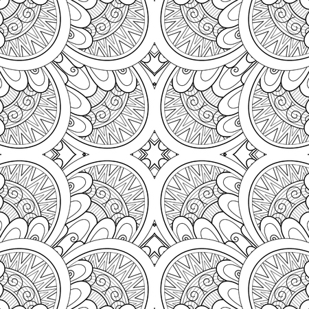 Monochrome Seamless Tile Pattern, Fancy Kaleidoscope. Endless Ethnic Texture with Abstract Design Element. Art Deco, Nouveau, Paisley Garden Style. Coloring Book Page. Vector Contour Illustration Фото со стока - 104968653