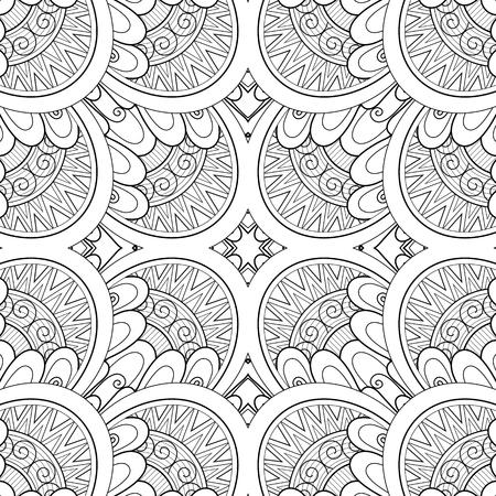 Monochromes nahtloses Fliesenmuster, ausgefallenes Kaleidoskop. Endlose ethnische Textur mit abstraktem Gestaltungselement. Art Deco, Jugendstil, Paisley Garden Style. Malbuchseite. Vektorkonturillustration Vektorgrafik