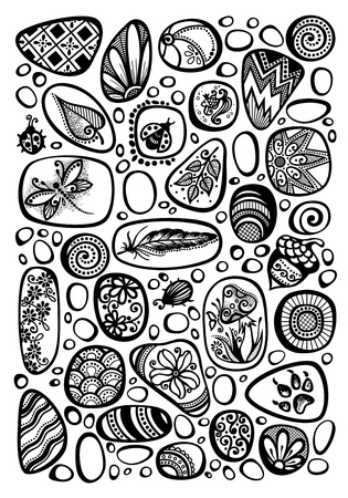 Collection of Decorative Sea Pebbles with Ornaments. Detailed Pebble-stones Set, Beetles, Flowers, Acorn, Mushroom, Dragonfly. Boho Style Mosaic Pattern, Ethnic Motifs. Vector Contour Illustration