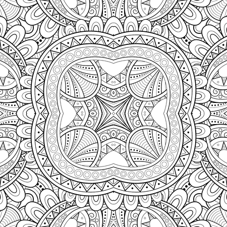 Monochrome Seamless Tile Pattern, Fancy Kaleidoscope. Endless Ethnic Texture with Abstract Design Element. Art Deco, Nouveau, Paisley Garden Style. Coloring Book Page. Vector Contour Illustration Imagens - 105361047