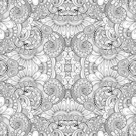 Monochrome Seamless Pattern with Tribal Ornament. Endless Floral Motif. Tile Background, Kaleidoscope. Coloring Book Page. Vector Contour Illustration. Abstract Mandala Art, Doodle Sketchy Style