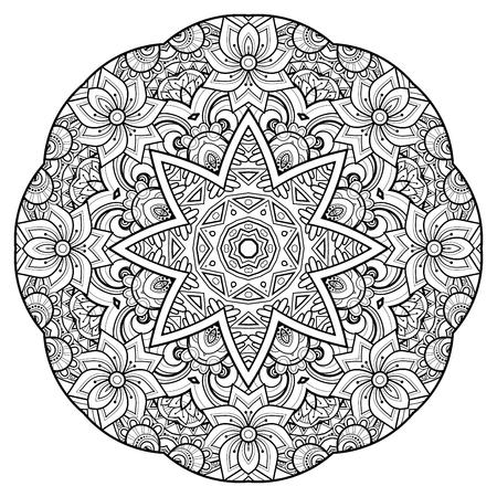 Mandala adornado decorativo hermoso monocromo. Amuleto indio étnico floral. Art Deco, elemento de diseño de estilo Paisley Garden. Página de libro para colorear. Ilustración de contorno vectorial. Abstracción ornamental