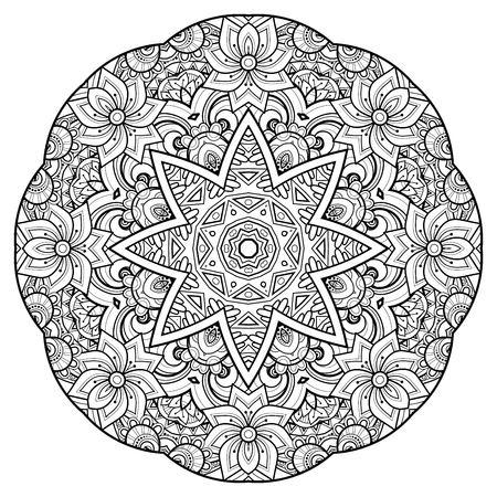 Monochrome Beautiful Decorative Ornate Mandala. Floral Ethnic Indian Amulet. Art Deco, Paisley Garden Style Design Element. Coloring Book Page. Vector Contour Illustration. Ornamental Abstraction Ilustracja