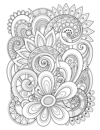Élément de design floral monochrome dans le style de ligne Doodle. Composition décorative avec des fleurs et des feuilles. Motif naturel élégant. Page de livre de coloriage. Illustration de contour de vecteur. Art abstrait fleuri Vecteurs
