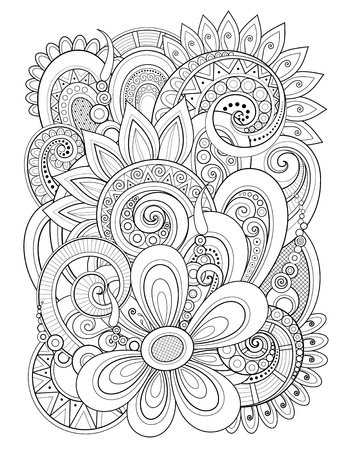 Monochrome Floral Design Element in Doodle Line Style. Decorative Composition with Flowers and Leaves. Elegant Natural Motif. Coloring Book Page. Vector Contour Illustration. Abstract Ornate Art