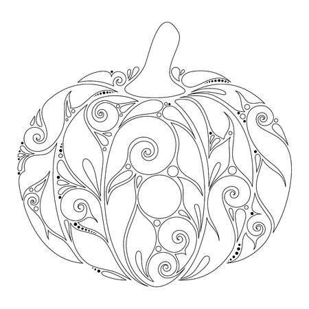 Monochrome Decorative Pumpkin. Fall Plant with Paisley Ornament. Design Element for Thanksgiving and Halloween Holidays. Simple Coloring Book Page. Vector Contour Illustration. Abstract Ornate Art