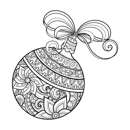 Monochrome Ornate Christmas Decoration, Happy New Year. Ball with Bow, Floral Ornament. Holiday Objects in Doodle Line Style for Greeting Card. Coloring Book Page. Vector Contour Illustration