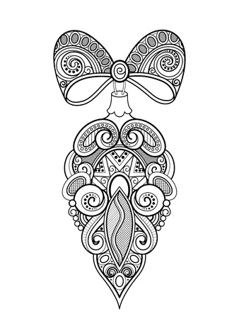 Monochrome Ornate Christmas Decoration, Happy New Year. Cone with Bows on Beads. Holiday Object in Doodle Line Style for Greeting Card. Coloring Book Page. Vector Contour Illustration Иллюстрация