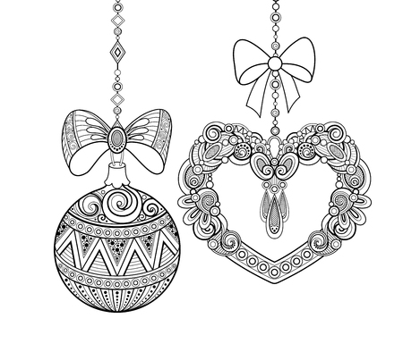 Monochrome Ornate Christmas Decorations, Happy New Year. Ball and Heart with Bows, Floral Ornament. Holiday Objects in Doodle Style for Greeting Card. Coloring Book Page. Vector Contour Illustration Illustration