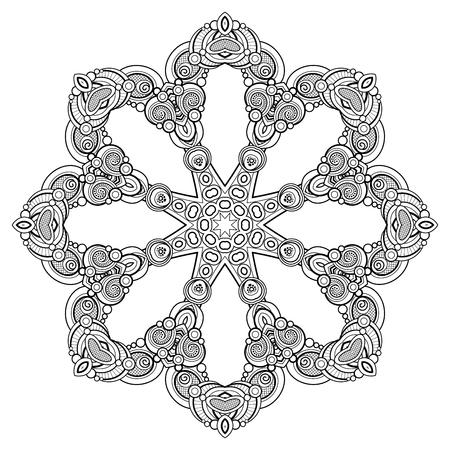 Monochrome Beautiful Decorative Ornate Mandala. Floral Ethnic Indian Amulet. Art Deco, Paisley Garden Style Design Element. Coloring Book Page. Vector Contour Illustration. Ornamental Abstraction Illustration