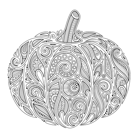 Monochromer dekorativer Kürbis. Herbstpflanze mit Paisley-Blumenverzierung. Gestaltungselement für Erntedankfest und Halloween-Feiertage. Malbuchseite. Vektorkonturillustration. Abstrakte verzierte Kunst