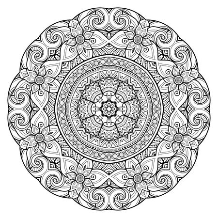 Monochrome Beautiful Decorative Ornate Mandala. Floral Ethnic Indian Amulet. Art Deco, Paisley Garden Style Design Element. Coloring Book Page. Vector Contour Illustration. Ornamental Abstraction Illustration