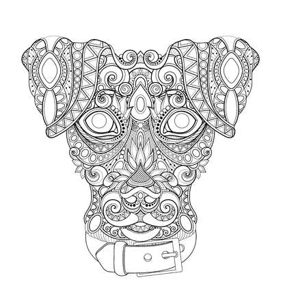 Cane decorativo monocromatico, volto umano migliore amico. Stile Doodle. Design tribale modellato. Simbolo del nuovo anno 2018 dall'oroscopo cinese. Pagina del libro da colorare. Illustrazione di contorno vettoriale Vettoriali