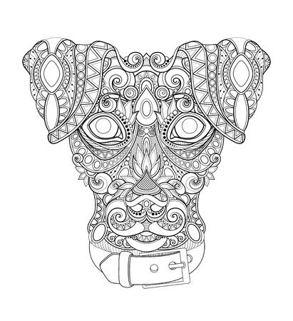 Perro decorativo monocromo, rostro de mejor amigo humano. Estilo Doodle. Diseño tribal estampado. Símbolo del año nuevo 2018 según el horóscopo chino. Página de libro para colorear. Ilustración de contorno vectorial Ilustración de vector