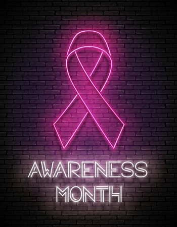 Vintage Glow Signboard with Pink Ribbon. Breast Cancer Awareness Month. Template for Flyer, Banner, Invitation. Brick Wall, Horizontal Seamless. Vector 3d Illustration. Clipping Mask, Editable
