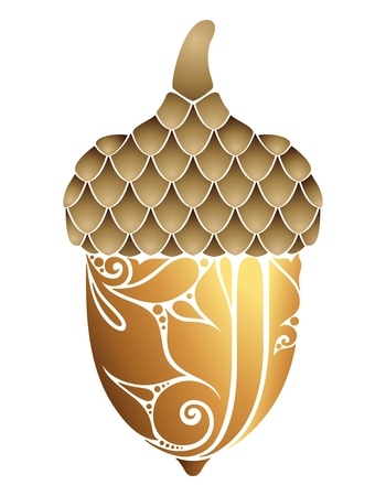 Colored Decorative Acorn. Fall Plant with Paisley Floral Ornament, Indian Motifs. Design Element for Print, Logo, Packaging. Embroidery, Lazer Cut, Embossing Template. Vector Contour Illustration