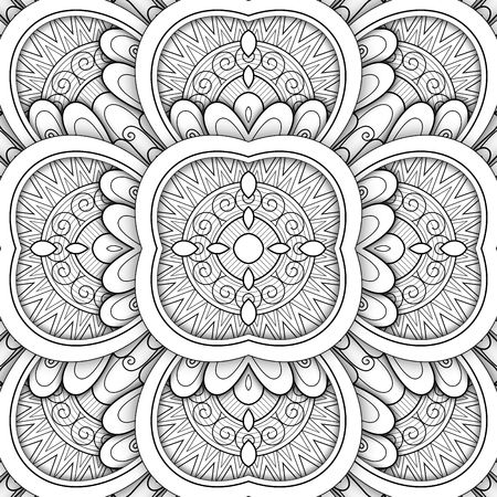 Monochrome Seamless Tile Pattern, Fancy Kaleidoscope. Endless Ethnic Texture with Abstract Design Element. Art Deco, Nouveau, Paisley Garden Style. Coloring Book Page. Vector 3d Contour Illustration