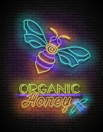 Vintage Glow Poster with Bee and Organic Honey Inscription. Neon Lettering. Template for Flyer, Banner, Advertisement. Brick Wall, Horizontal Seamless. Vector 3d Illustration. Clipping Mask, Editable