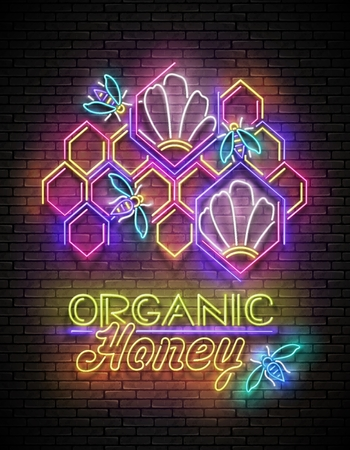 Vintage Poster with Bees in Beehive and Organic Honey Inscription. Neon Lettering. Template for Banner, Advertisement. Brick Wall, Horizontal Seamless. Vector 3d Illustration. Clipping Mask, Editable Vectores