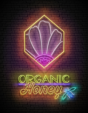 Vintage Poster with Flower in Honeycomb and Organic Honey Inscription. Neon Lettering. Template for Banner, Advertisement. Brick Wall, Horizontal Seamless. Vector 3d. Clipping Mask, Editable