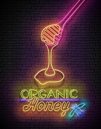 Vintage Poster with Flowing Honey on Deepper and Inscription. Neon Lettering. Template for Banner, Advertisement. Brick Wall, Horizontal Seamless. Vector 3d Illustration. Clipping Mask, Editable