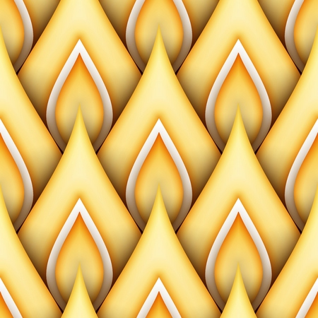Seamless Pattern with Gold Ethnic Motifs. Endless Texture with Abstract Design Element. Art Deco, Nouveau, Islamic, Arabic Style. Realistic Glossy Ornament. Vector 3d Illustration. Ornate Abstraction