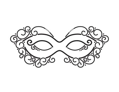 Mardi Gras Masquerade Mask. Holiday Template Banner, Invitation, Flyer, Poster. Venetian, Brazilian Carnival. Black Silhouette, Stencil for Engraving, Embossing. Vector Line Art Illustration