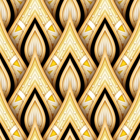 Seamless Pattern with Gold and Black Ethnic Motifs. Endless Texture with Abstract Element. Art Deco, Nouveau, Islamic, Arabic. Realistic Glossy Ornament. Vector 3d Illustration. Ornate Abstraction Vector Illustration