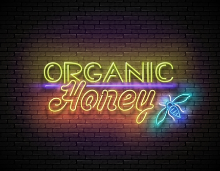 Vintage Signboard with Organic Honey Inscription. Neon Retro Lettering. Template for Flyer, Poster, Banner, Playbill. Vertical Seamless Brick Wall. Vector 3d Illustration. Clipping Mask, Editable