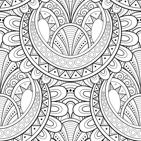Monochrome Ethnic Seamless Pattern. Endless Texture with Abstract Design Element. Art Deco, Paisley Garden Style. Coloring Book Page Ornament. Vector Contour Illustration. Ornate Abstraction Ilustracja