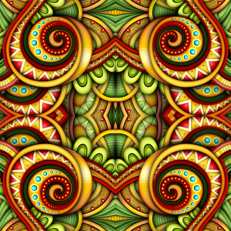 Colored Seamless Tile Pattern, Fantastic Kaleidoscope. Endless Ethnic Texture with Abstract Design Element. Khokhloma, Gypsy, Paisley Garden Style. Realistic Glossy Ornament. Vector 3d Illustration Фото со стока - 126287382