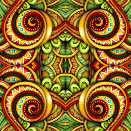 Gekleurd Naadloos Tegelpatroon, Fantastische Caleidoscoop. Eindeloze etnische textuur met abstracte ontwerpelement. Khokhloma, Gypsy, Paisley Garden Style. Realistisch glanzend ornament. Vector 3d illustratie Vector Illustratie