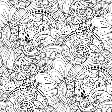 Modèle sans couture monochrome avec des motifs floraux. Texture sans fin avec des fleurs, des feuilles, etc. Fond naturel dans le style de ligne Doodle. Page de livre de coloriage. Illustration de contour vectoriel. Art abstrait