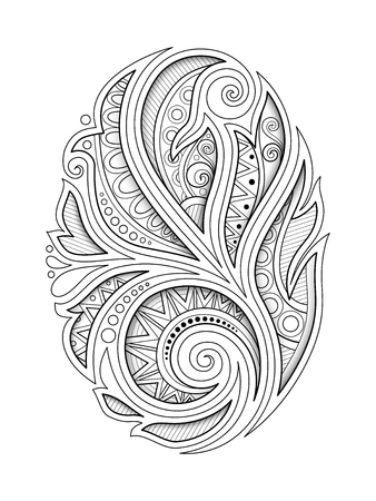 Monochrome Decorative Design Element in Oval Shape. Ethnic Abstract Symmetrical Object. Floral Motif, Indian, Turkish, Paisley Garden Style. Coloring Book Page. Vector 3d Contour Illustration