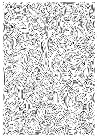 Fondo floreale monocromatico nello stile indiano del giardino di Paisley. Composizione decorativa con fiori. Motivi di scarabocchio naturali. Pagina del libro da colorare. Illustrazione di contorno vettoriale. Arte astratta ornata Vettoriali