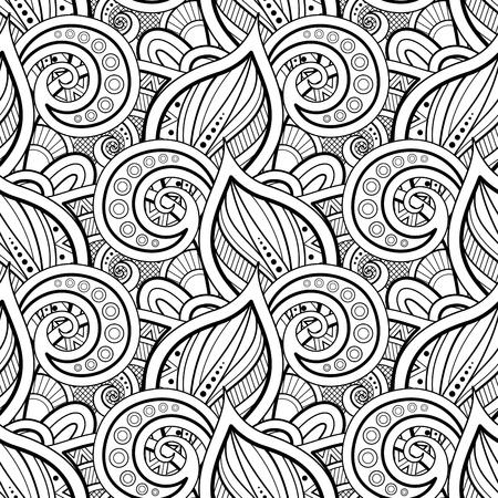 꽃 모티브로 흑백 완벽 한 패턴입니다. 잎과 소용돌이가 있는 끝없는 질감. 낙서 스타일의 자연 배경입니다. 색칠하기 책 페이지. 벡터 윤곽 그림입니다. 추상 화려한 예술