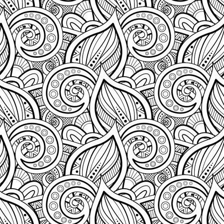 Monochroom naadloos patroon met bloemmotieven. Eindeloze textuur met bladeren en wervelingen. Natuurlijke achtergrond in Doodle-stijl. Kleurboekpagina. Vector contourillustratie. Abstracte sierlijke kunst