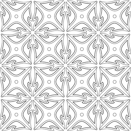 Monochrome Seamless Pattern with Floral Ethnic Motif. Endless Texture with Abstract Design Element. Indian, Turkish, Batik, Paisley Garden Style. Simple Coloring Book Page. Vector Contour Illustration