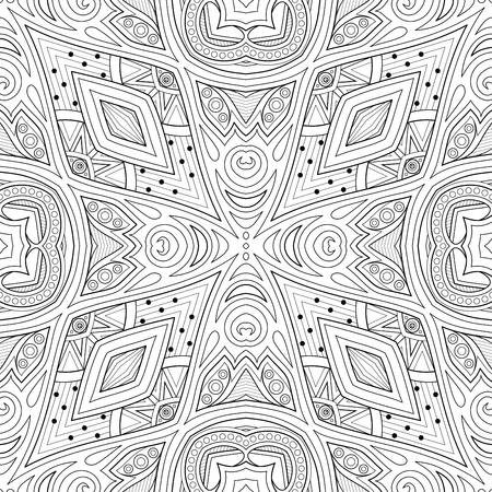 Monochrome Seamless Pattern with Floral Ethnic Motifs. Endless Texture with Abstract Design Elements. Indian, Turkish, Batik, Paisley Garden Style. Coloring Book Page. Vector Contour Illustration