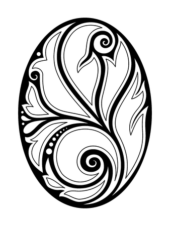 Monochrome Decorative Design Element in Oval Shape. Ethnic Abstract Symmetrical Object. Floral Motif, Indian, Turkish, Paisley Garden Style. Simple Coloring Book Page. Vector Contour Illustration