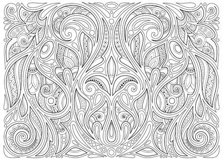 Monochrome Floral Background in Paisley Garden Indian Style. Decorative Composition with Flowers. Natural Doodle Motifs. Coloring Book Page. Vector Contour Illustration. Abstract Ornate Art Illustration
