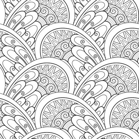 Monochrome Ethnic Seamless Pattern. Endless Texture with Abstract Design Element. Art Deco, Paisley Garden Style. Coloring Book Page Ornament. Vector Contour Illustration. Ornate Abstraction Illustration