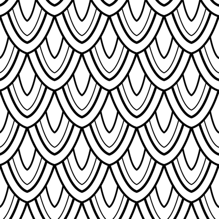 Monochrome Seamless Pattern with Natural Motifs. Endless Texture with Abstract Design Element. Dragon Scale Imitation, Mermaid. Coloring Book Page. Vector Contour Illustration. Ornate Abstraction Ilustração