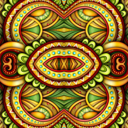 Colored Seamless Tile Pattern, Fantastic Kaleidoscope. Endless Ethnic Texture with Abstract Design Element. Khokhloma, Gypsy, Paisley Garden Style. Realistic Glossy Ornament. Vector 3d Illustration Vektorové ilustrace