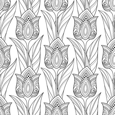 Einfarbiges nahtloses Muster mit Tulpen, Blumenmotiven. Endlose Textur mit Blumen, Blättern und Wirbeln. Batik, Paisley-Garten-Stil. Malbuchseite. Vektor-Kontur-Abbildung. Abstrakte Kunst