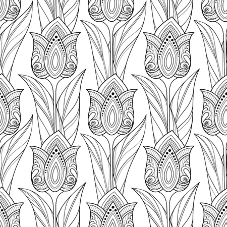 Modello senza cuciture monocromatico con tulipani, motivi floreali. Texture infinita con fiori, foglie e turbinii. Batik, stile giardino Paisley. Pagina del libro da colorare. Illustrazione di contorno vettoriale. Arte astratta