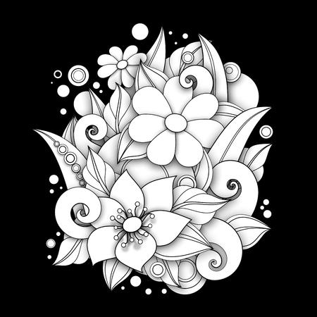 Monochrome Floral Illustration in Doodle Style. Decorative Composition with Flowers, Leaves and Swirls. Elegant Natural Motif. Coloring Book Page. Vector Contour 3d Art. Abstract Design Element Ilustração