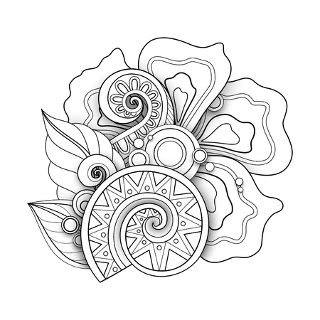 Monochrome Floral Illustration in Doodle Style. Decorative Composition with Flowers, Leaves and Swirls. Elegant Natural Motif. Coloring Book Page. Vector Contour 3d Art. Abstract Design Element Vettoriali